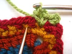 Crocheting blanket edgings is one of my most favourite things, I love the challenge of choosing exactly the right colours and designing exactly the right sort of finish to complete the blanket. This edging was designed specifically for the Cosy. Crochet Blanket Border, Crochet Borders, Crochet Flower Patterns, Crochet Blanket Patterns, Crochet Flowers, Crochet Edgings, Crochet Blankets, Scrap Yarn Crochet, Knit Crochet