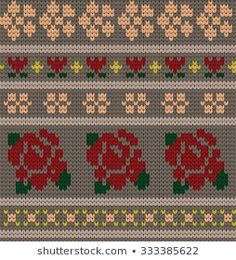 The knitted borders collection by Gala titmouse contains 296 high quality photos and images available for purchase on Shutterstock. Tapestry Crochet Patterns, Fair Isle Knitting Patterns, Intarsia Knitting, Baby Knitting, Drops Design, Motif Fair Isle, Flower Patterns, Bohemian Rug, Diy And Crafts