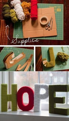Letters covered in yarn looks pretty and easy too - cool for maybe a kids room with their name, or for holidays