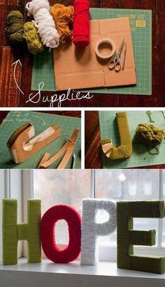 DIY ::  yarn letters ( http://jenloveskev.com/2011/11/29/d-i-y-yarn-letters/ )
