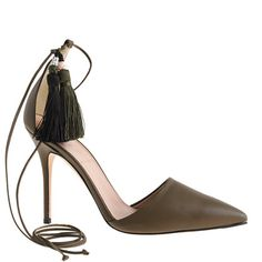 """We took our favorite Roxie pumps and added a sexy ankle-tie detail. Then our designers went and added tassels to the laces—guess they were feeling sassy that day. <ul><li>Please order a half size smaller than your regular size.</li><li>4 1/8"""" heel.</li><li>Leather upper, lining and sole.</li><li>Made in Italy.</li></ul>"""