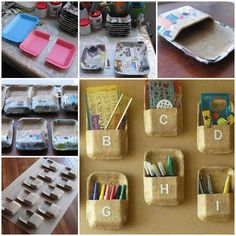 When Ido grocery shopping, Iusually come home with some foam trays that are wrapped with meat or vegetables. Normally I just dump the foam trays into the recycle bin. Now there is a better way to recycle them. You can make a nice wall organizer for pens, stationery and other …