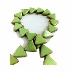 Green Triangle Glass Beads Czech Picasso Edge