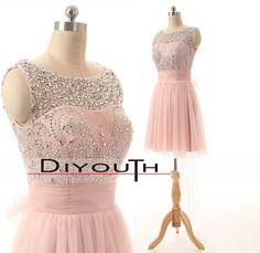 DIYouth.com Handmade Beading Pink Short Prom Homecoming Dresses,Mini prom dress,pink mini bridesmaid dress,mini wedding party dress,handmade beading tulle short prom dress