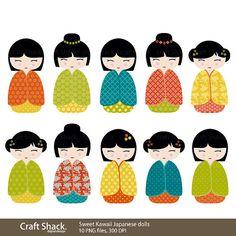 Sweet Kawaii Kokeshi dolls, Japanese Digital Clipart (10 PNG files)
