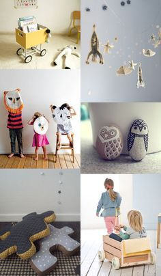 {1. trolley 2. paper garland 3. pillow pets 4. owl pebbles 5. puzzle piece pillows 6. play car} not sure what to do this weekend and looking for some crafty and diy inspiration ... this pinterest board from Willemijn Klein...