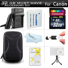 32GB Accessories Kit For Canon PowerShot SX600 HS SX700 HS ELPH 500 HS SX610 HS SX710 HS Digital Camera Includes 32GB High Speed SD Memory Card  Replacement NB6L Battery  Charger  Case  More * Click on the image for additional details.