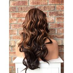 "Brown Chestnut Hi Lite Mix Wavy Human Hair Blend Front Lace Wig 22"" ($113) ❤ liked on Polyvore featuring beauty products, haircare, hair styling tools and curly hair care"