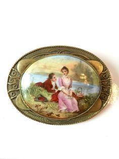 Vintage Victorian Hand Painted Brooch by AntiqueJewelryForFun