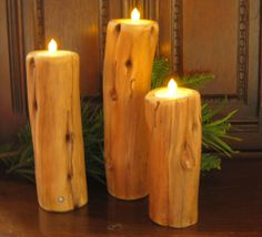wood pillar light by IDesignsTeam on Etsy