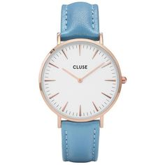 Cluse La BohÈMe Rose Gold Retro Blue Leather Strap Ladies Watch (1.419.035 IDR) ❤ liked on Polyvore featuring jewelry, watches, accessories, relógio, vintage retro jewelry, vintage rose gold jewelry, buckle watches, red gold watches and vintage jewellery