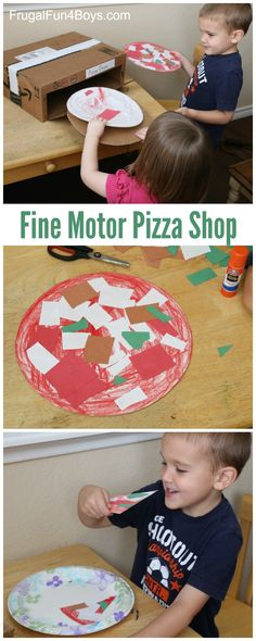Pizza Shop Pretend Play Fine Motor Activity for Preschoolers - Frugal Fun For Boys and Girls
