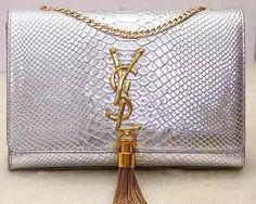 Yves Saint Laurent Monogramme Snake Leather Cross-body Bag Y32218 Silver 30992457c6799