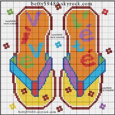 Loisirs - leisure - thong - point de croix - cross stitch - Blog : http://broderiemimie44.canalblog.com/
