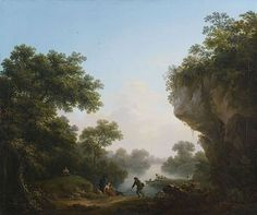Michael Wutky (1739-1822)_Fishers in Front of a River Crossing a Landscape of Rocks and Woods