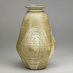 DANIEL RHODES (1911-1989); Tall glazed and incised stoneware vessel, Alfred, NY;