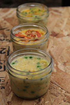 Jar Lunch:  Crustless Quiche 3 Ways.  To lighten up, replace cream with other dairy or non-dairy liquid.