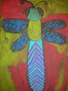 bugs -- glue on black paper, then pastels, chalk (or black glue on paper, watercolors, tempera, chalk, etc)