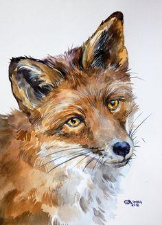 Portrait de renard roux animal de la faune par alisiasilverART