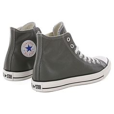 Converse All Star Leather Hi Shoes Charcoal ($91) ❤ liked on Polyvore