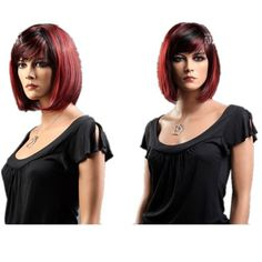 SureWells Nice wigs Office Style European and American Style Oblique Bangs Short Red and Brown Short Women Wigs Lace Wigs Hair Replacement by SureWells. $21.79. *100% Top Quality & Brand NEW. 100% Japanese Kanekalon (high quality one) made fiber wigs. * Easy to care for and Wash. Wash with normal shampoo in warm but not hot water. Shake off excessive water, wipe with a tower, and dry in air.. *Hair Looks Shiny Natural and Touch Soft.. *It's fit for your Partie...