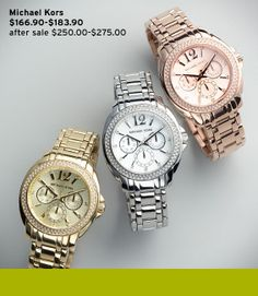 Michael Kors watches!!! I want the yellow or rose gold watch...birthday present maybe?!