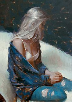 """Platinum Blond"" - Suchitra Bhosle (b. 1975), oil on canvas {figurative #impressionist art female seated woman profile portrait painting #loveart} suchitrabhosle.com"