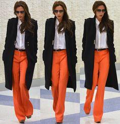 How to Wear Bright Orange Flare Pants Like Victoria Beckham