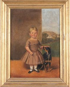 """EDMUND WARD GILL (1820-1894, American)  Young girl with dog, oil on canvas, 11"""" x 8"""", signed on verso E.W. Gill and dated 1852.  Estimate: $..."""