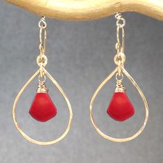 Hammered drop hoop earrings with red coral Aphrodite 57 (40.00 USD) by CalicoJunoJewelry