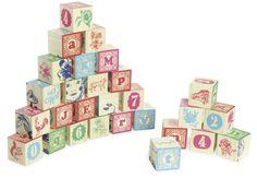 Jeu de cubes sérigraphiés en bois de Nathalie Lété.