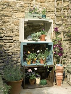 Ladder Decor, Crates, Bloom, Plants, Home Decor, Textiles, Image, Ideas, Gardens
