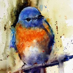 EASTERN BLUEBIRD giclee print from original watercolor painting by Dean Crouser (original has been sold). Tried to keep the painting loose and