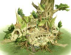 Pene Art SCHOOL Fantasy City, Fantasy House, Fantasy Places, Fantasy Map, Fantasy World, Fantasy Art Landscapes, Fantasy Landscape, Landscape Art, Elven City