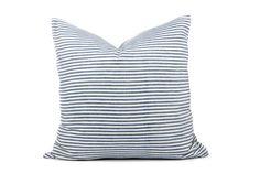 Blue-grey 100% cotton stripe cushion covers UK by LINThomeware