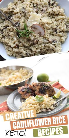 Tired of plain cauliflower rice? Don't despair, we've got tons of creative ways to make it delicious. Check out these awesome keto cauliflower rice recipes and make dinner more interesting! Bariatric Recipes, Ketogenic Recipes, Keto Recipes, Cooking Recipes, Healthy Recipes, Keto Side Dishes, Side Dish Recipes, Rice Recipes, Real Food Recipes