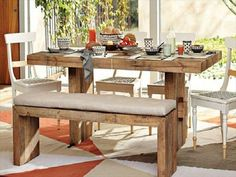 How To Use Kitchen Table Bench Effectively? : Rustic Kitchen Table With Bench. Rustic kitchen table with bench. Diy Dining Room Table, Rustic Kitchen Tables, Kitchen Table Bench, Pallet Dining Table, Reclaimed Wood Dining Table, Farmhouse Table, Outdoor Dining, Pallet Benches, Pallet Couch