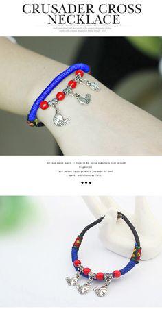 Bulk Blue Beads Decorated Fish Shape Pendant Design Alloy Korean Fashion Bracelet ,Korean Fashion Bracelet http://earrings.asumall.com/