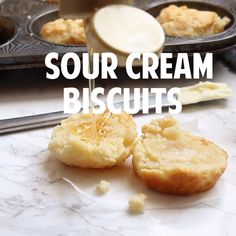 Soft, buttery and so tender these Sour Cream Biscuits have only 3 ingredients and they melt in your mouth. The perfect accompaniment to any meal. Sour Cream Banana Bread, Sour Cream Pancakes, Sour Cream Desserts, Homemade Sour Cream, Homemade Biscuits Recipe, Sour Cream Uses, Homemade Breads, Cream Cheese Biscuits, Chicken And Biscuits