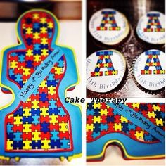 Autism Puzzle Cake - Cake by Cake Therapy 11th Birthday, Happy Birthday, Birthday Cake, Party Cakes, Party Favors, Anna Cake, Cupcake Cakes, Cupcakes, Gotcha Day