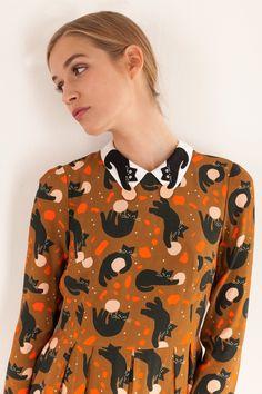Colletto con il Gatto dallo Spazio Abbigliamento Donna Made in Italy