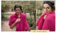 Fuschia mohair triangle shawl