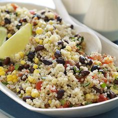 Try quinoa in place of rice for more protein, iron, and magnesium. Parents.com's Quinoa, Black Bean, and Corn salad is a delicious #wholegrain side dish. #myplate
