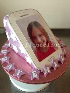 Mobile phone birthday cake.
