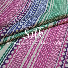 Retro Silk Fabric. Stripe Silk fabric by fabricAsians