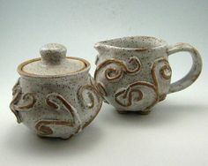 Sugar and Creamer Set Hand Thrown Stoneware Pottery by JustMare