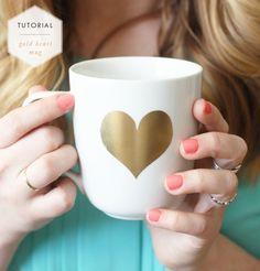 Tutorial // Gold Heart Mug