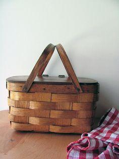 Basket Wood Woven Flip Top Oak Swing Handles Oak Wide Strips and Lined 1950s