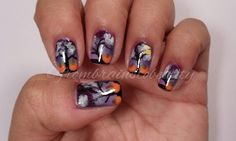 My favorite nail design to date   Midnight Pumpkin Patch Nail Tutorial