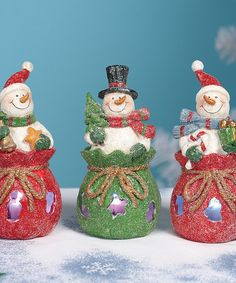 Take a look at this Gift Bag Snowman LED Figurine Set by Transpac Imports on #zulily today!